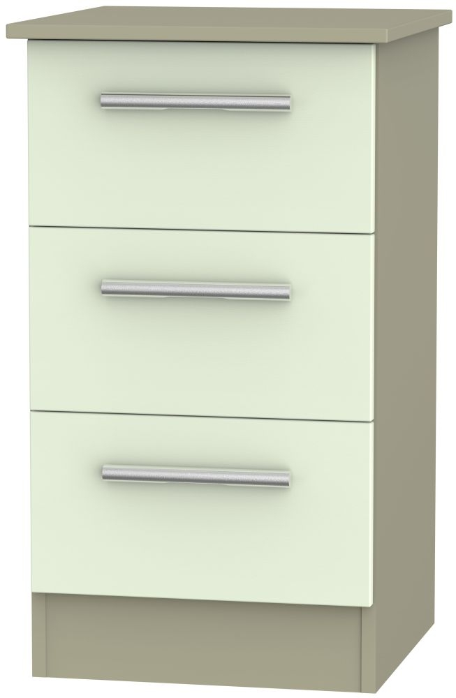 Contrast Vanilla and Mushroom Bedside Cabinet - 3 Drawer Locker