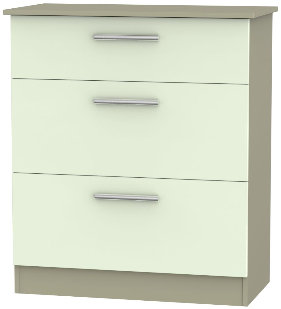 Contrast 3 Drawer Deep Chest - Vanilla and Mushroom