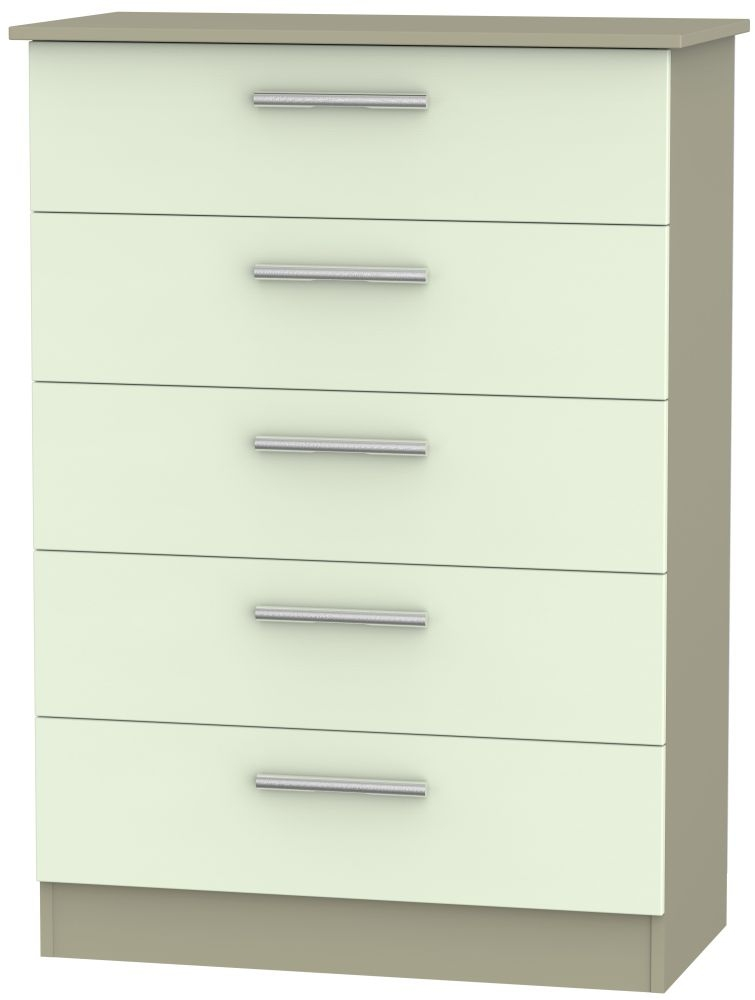Contrast Vanilla and Mushroom 5 Drawer Chest