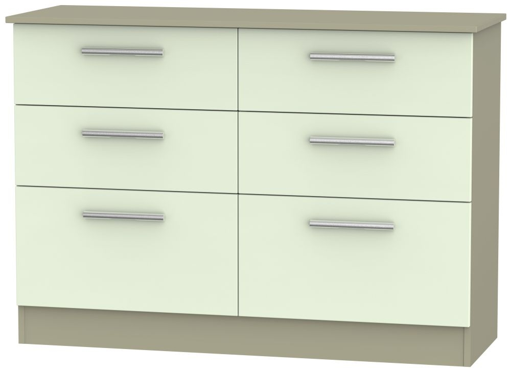Contrast Vanilla and Mushroom 6 Drawer Midi Chest