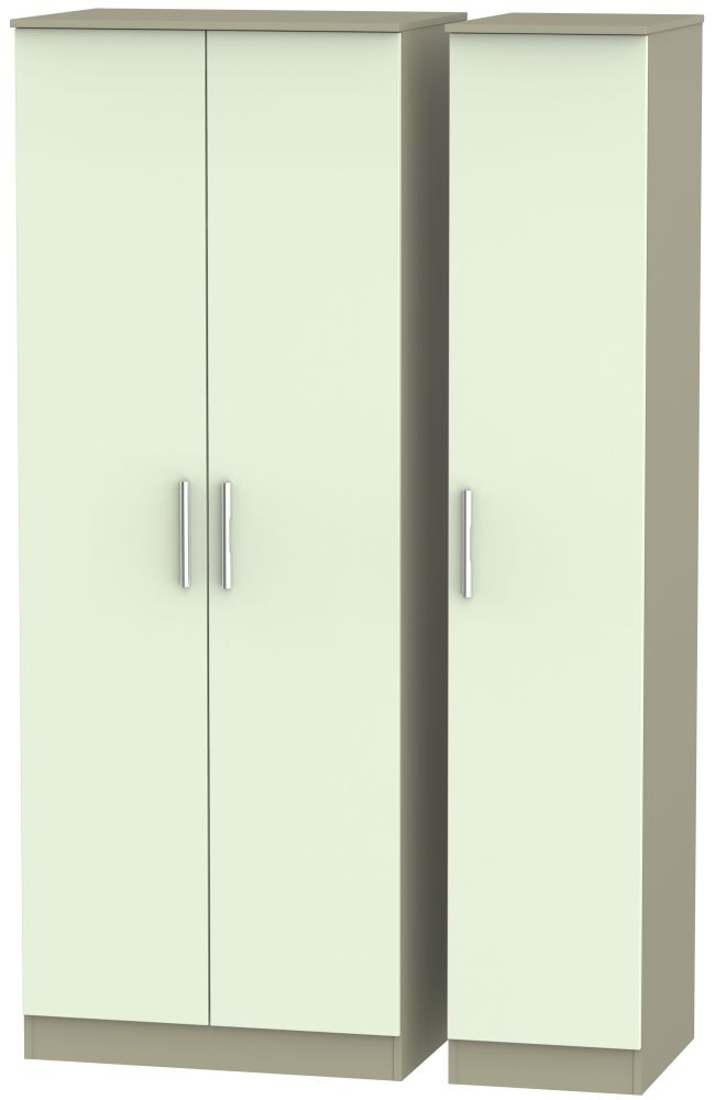 Contrast Vanilla and Mushroom Triple Wardrobe - Tall Plain