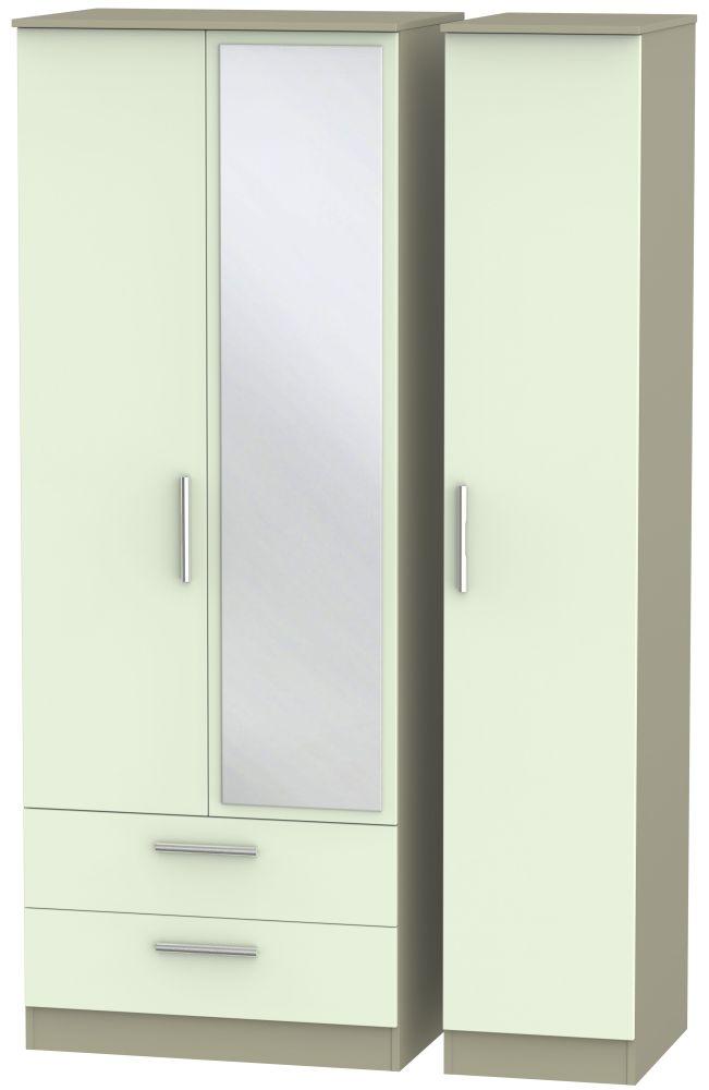 Contrast Vanilla and Mushroom 3 Door 2 Left Drawer Tall Mirror Triple Wardrobe