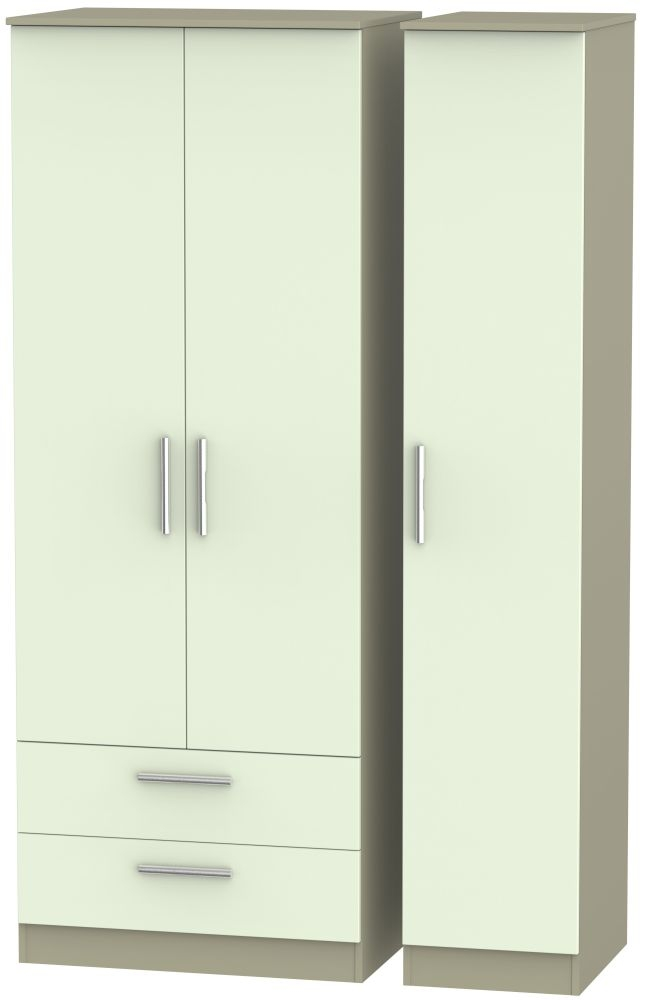 Contrast Vanilla and Mushroom 3 Door 2 Drawer Tall Triple Wardrobe