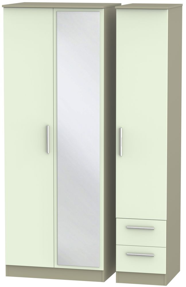 Contrast Vanilla and Mushroom 3 Door 2 Right Drawer Tall Mirror Triple Wardrobe