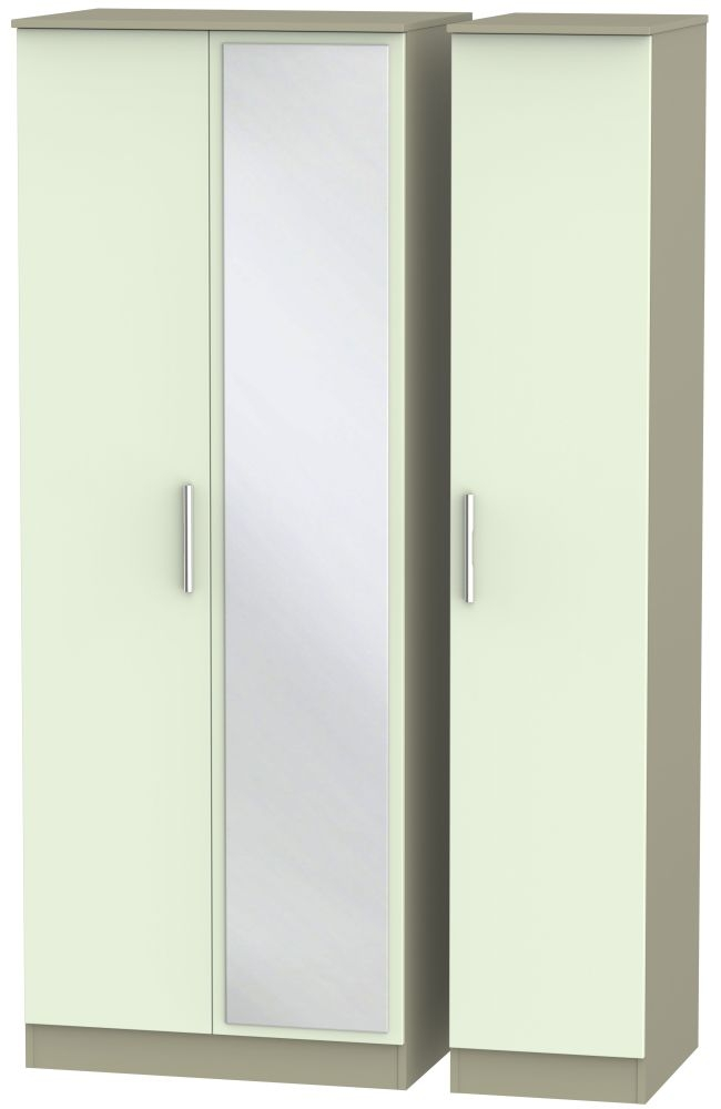 Contrast 3 Door Mirror Wardrobe - Vanilla and Mushroom