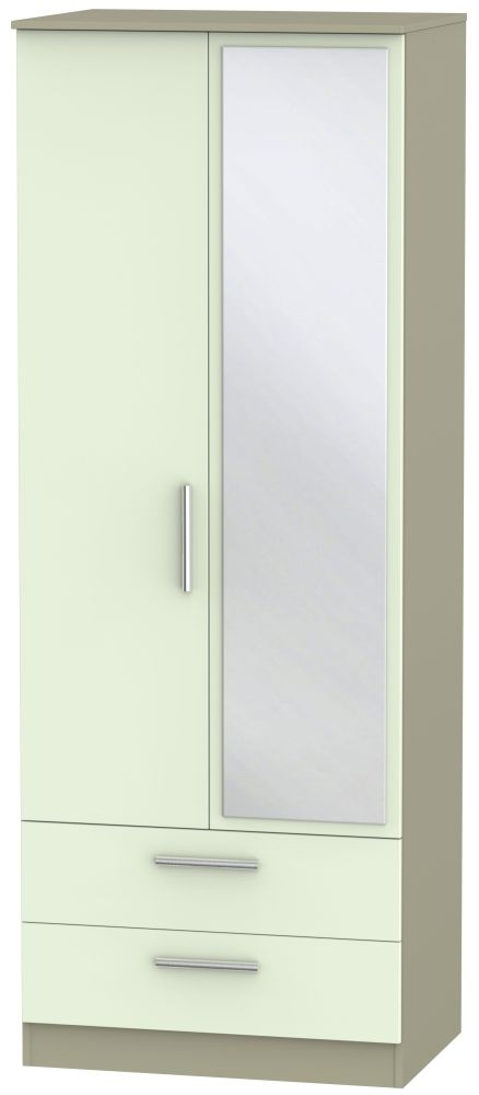 Contrast 2 Door Combi Wardrobe - Vanilla and Mushroom