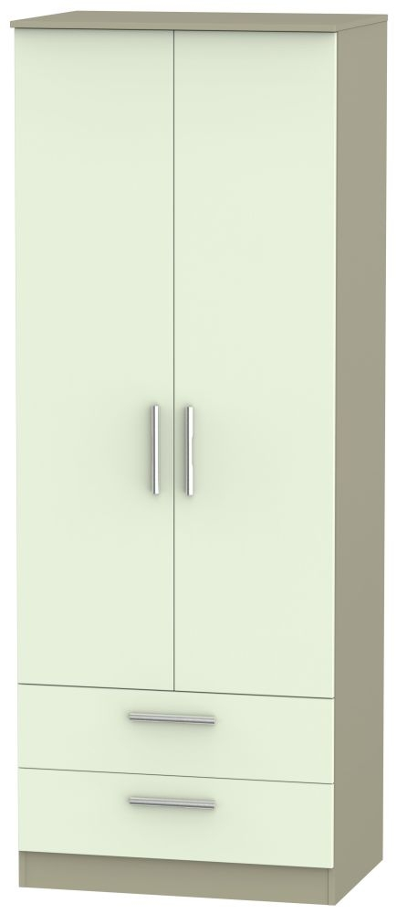 Contrast Vanilla and Mushroom 2 Door 2 Drawer Tall Double Wardrobe