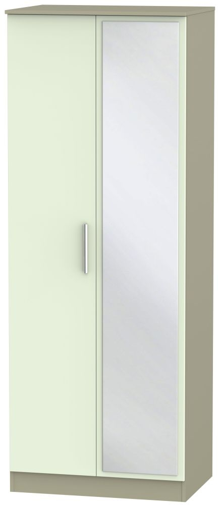 Contrast 2 Door Mirror Wardrobe - Vanilla and Mushroom
