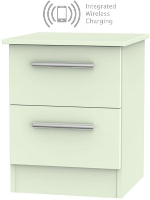 Contrast Vanilla 2 Drawer Bedside Cabinet with Integrated Wireless Charging