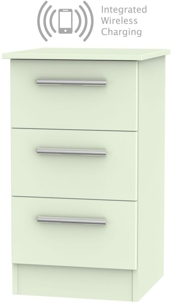 Contrast Vanilla 3 Drawer Bedside Cabinet with Integrated Wireless Charging
