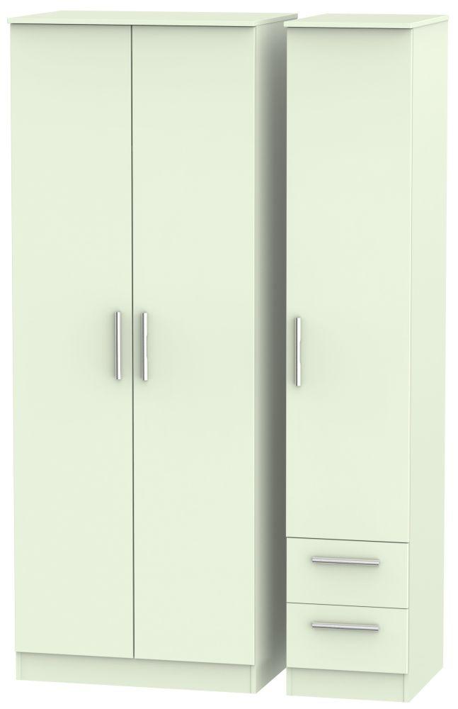 Contrast Vanilla 3 Door 2 Drawer Tall Plain Triple Wardrobe