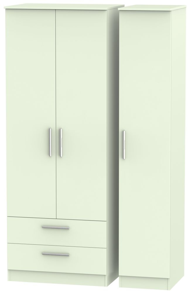 Contrast Vanilla Triple Wardrobe - Tall with 2 Drawer