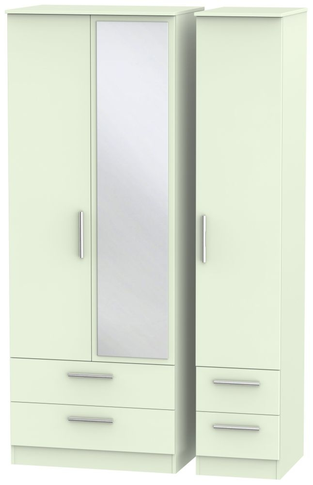 Contrast Vanilla 3 Door 4 Drawer Tall Mirror Triple Wardrobe