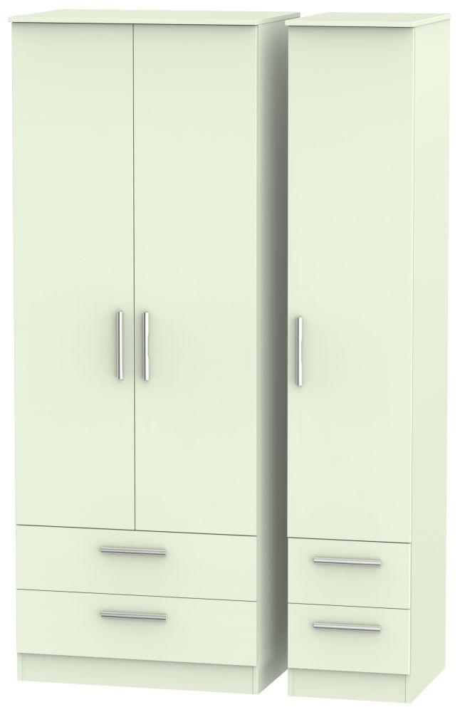 Contrast Vanilla 3 Door 4 Drawer Tall Triple Wardrobe