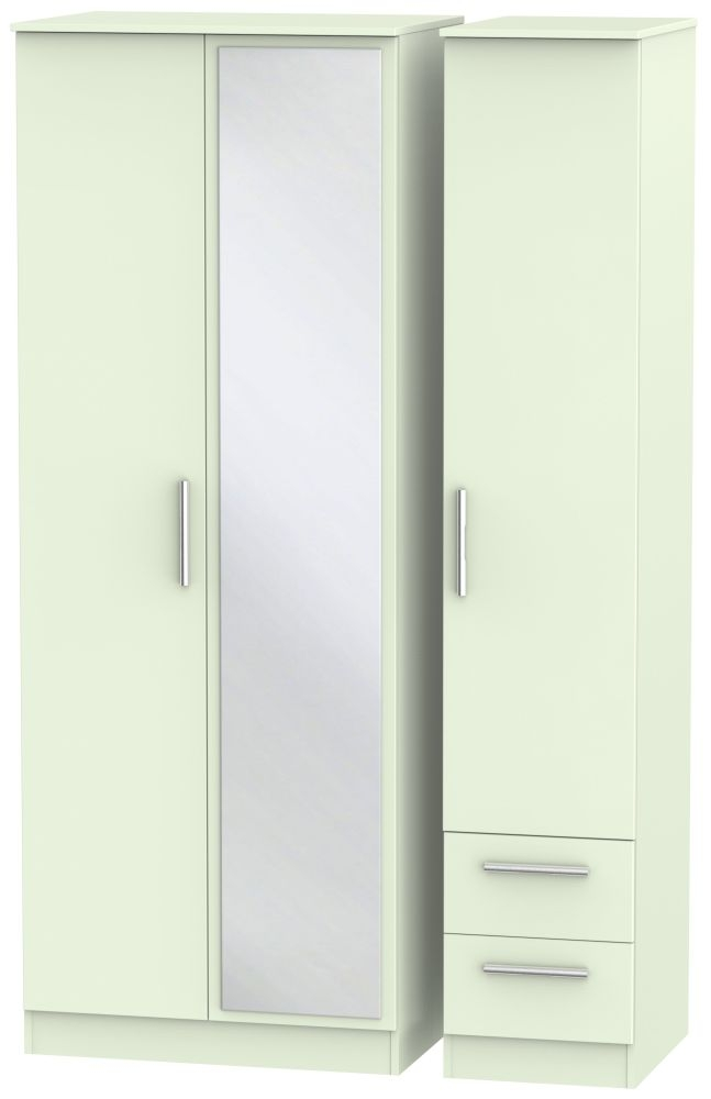 Contrast Vanilla 3 Door 2 Right Drawer Tall Mirror Triple Wardrobe