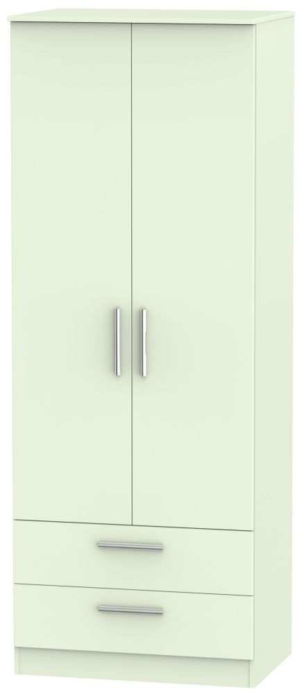 Contrast Vanilla Wardrobe - Tall 2ft 6in with 2 Drawer
