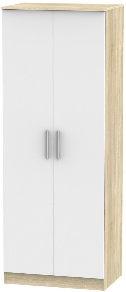 Contrast 2 Door Wardrobe - White Matt and Bardolino