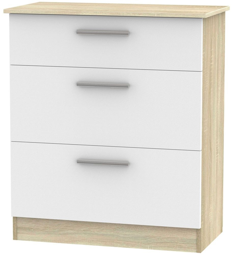 Contrast 3 Drawer Deep Chest - White Matt and Bardolino