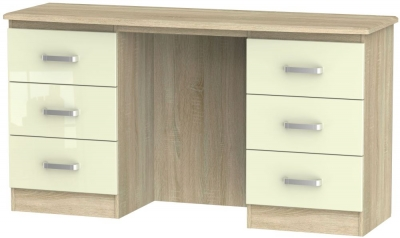 Coral Bay High Gloss Cream and Bardolino Oak Dressing Table - Knee Hole Double Pedestal
