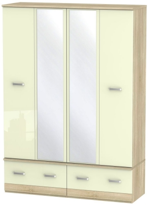 Coral Bay High Gloss Cream and Bardolino Oak Wardrobe - 4 Door Quad Box with Mirror