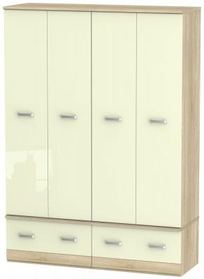 Coral Bay High Gloss Cream and Bardolino Oak Wardrobe - 4 Door Quad Box