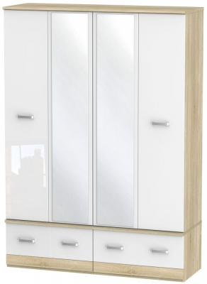 Coral Bay High Gloss White and Bardolino Oak Wardrobe - 4 Door Quad Box with Mirror