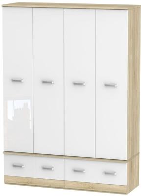 Coral Bay High Gloss White and Bardolino Oak Wardrobe - 4 Door Quad Box