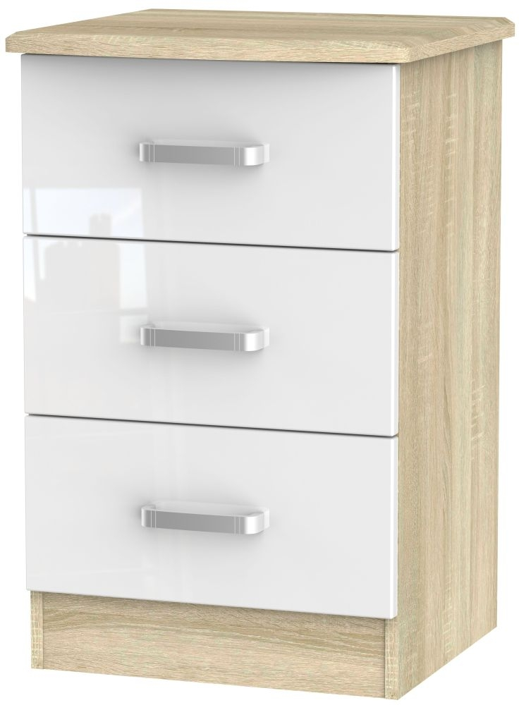 Coral Bay High Gloss White and Bardolino Oak Bedside Cabinet - 3 Drawer Locker