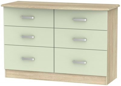Coral Bay Mussel and Bardolino Oak Chest of Drawer - 6 Drawer Midi