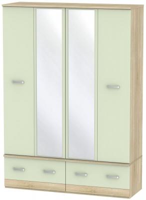 Coral Bay Mussel and Bardolino Oak Wardrobe - 4 Door Quad Box with Mirror