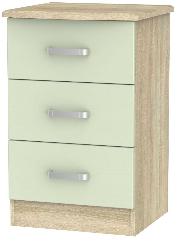 Coral Bay Mussel and Bardolino Oak Bedside Cabinet - 3 Drawer Locker