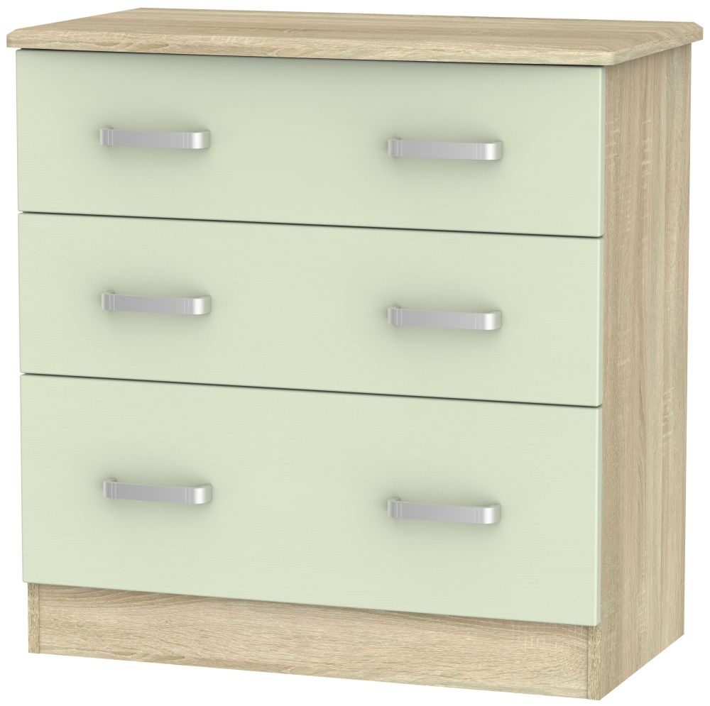 Coral Bay Mussel and Bardolino Oak Chest of Drawer - 3 Drawer Deep