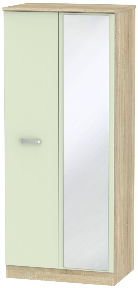 Coral Bay Mussel and Bardolino Oak Double Plain Wardrobe