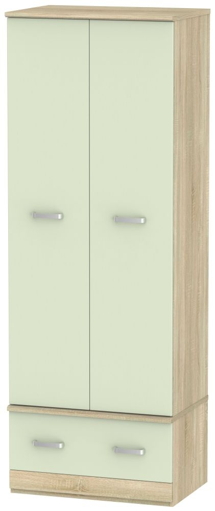 Coral Bay Mussel and Bardolino Oak Wardrobe - Double Box