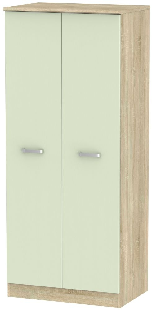 Coral Bay Mussel and Bardolino Oak Wardrobe Double - Plain with Double Hanging