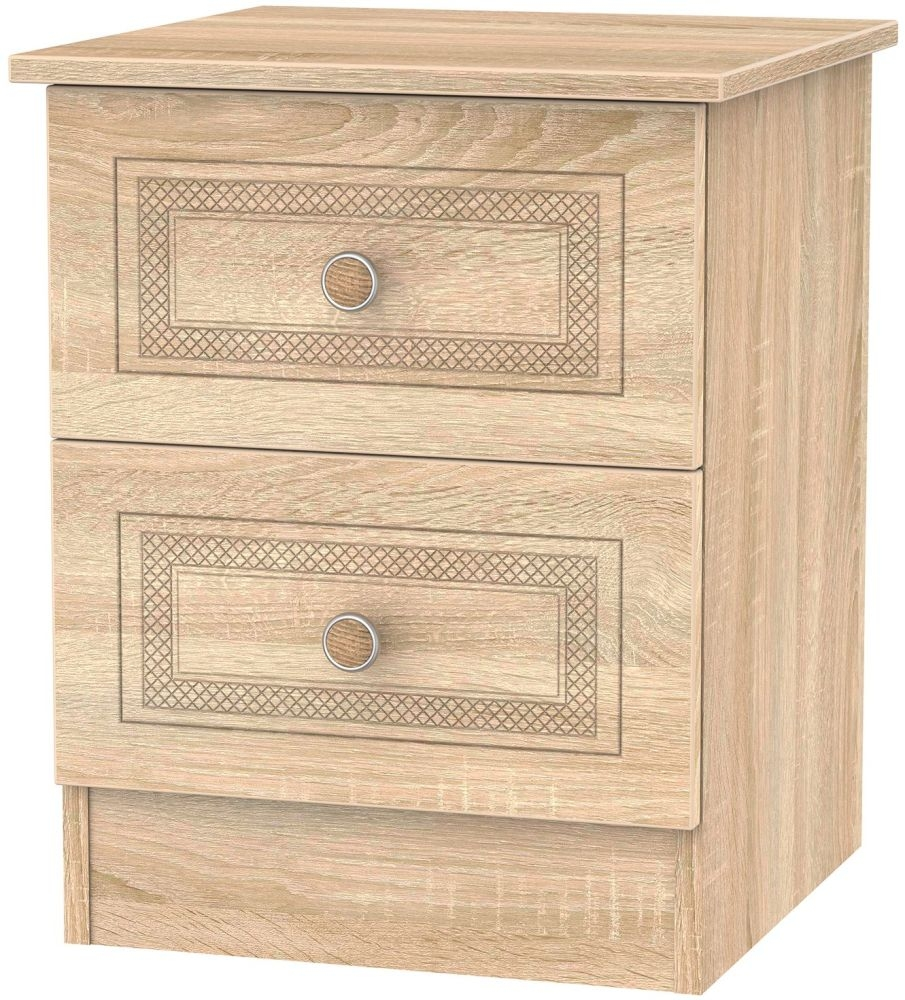 Corrib Bardolino Oak Bedside Cabinet - 2 Drawer Locker