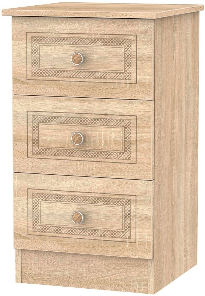 Corrib Bardolino Oak Bedside Cabinet - 3 Drawer Locker