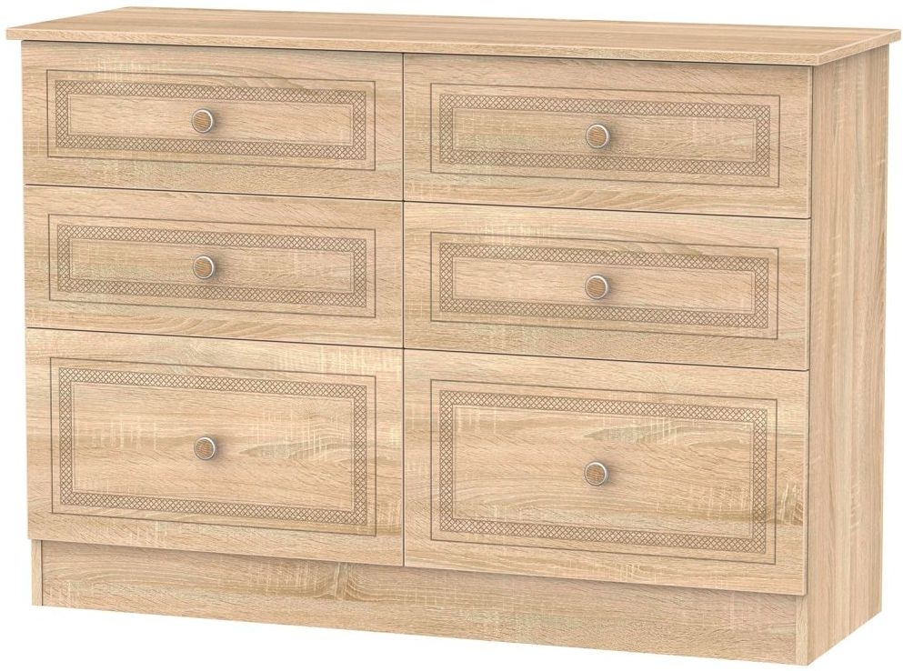 Corrib Bardolino Oak Chest of Drawer - 6 Drawer Midi
