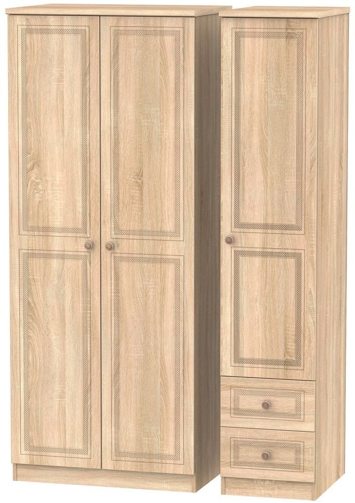 Corrib Bardolino Oak Triple Wardrobe - Plain with 2 Drawer