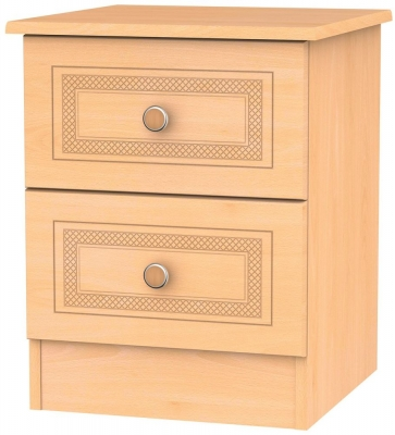 Corrib Beech Bedside Cabinet - 2 Drawer Locker