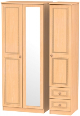 Corrib Beech Triple Wardrobe - Mirror with 2 Drawer