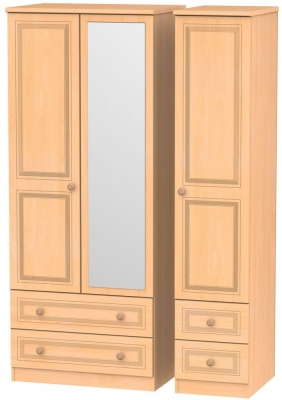 Corrib Beech Triple Wardrobe - Mirror with Drawer