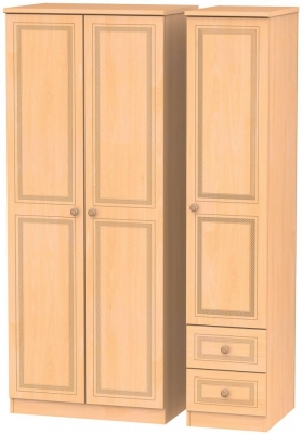 Corrib Beech Triple Wardrobe - Plain with 2 Drawer