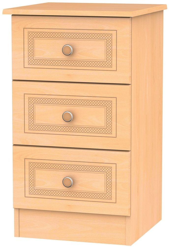 Corrib Beech Bedside Cabinet - 3 Drawer Locker