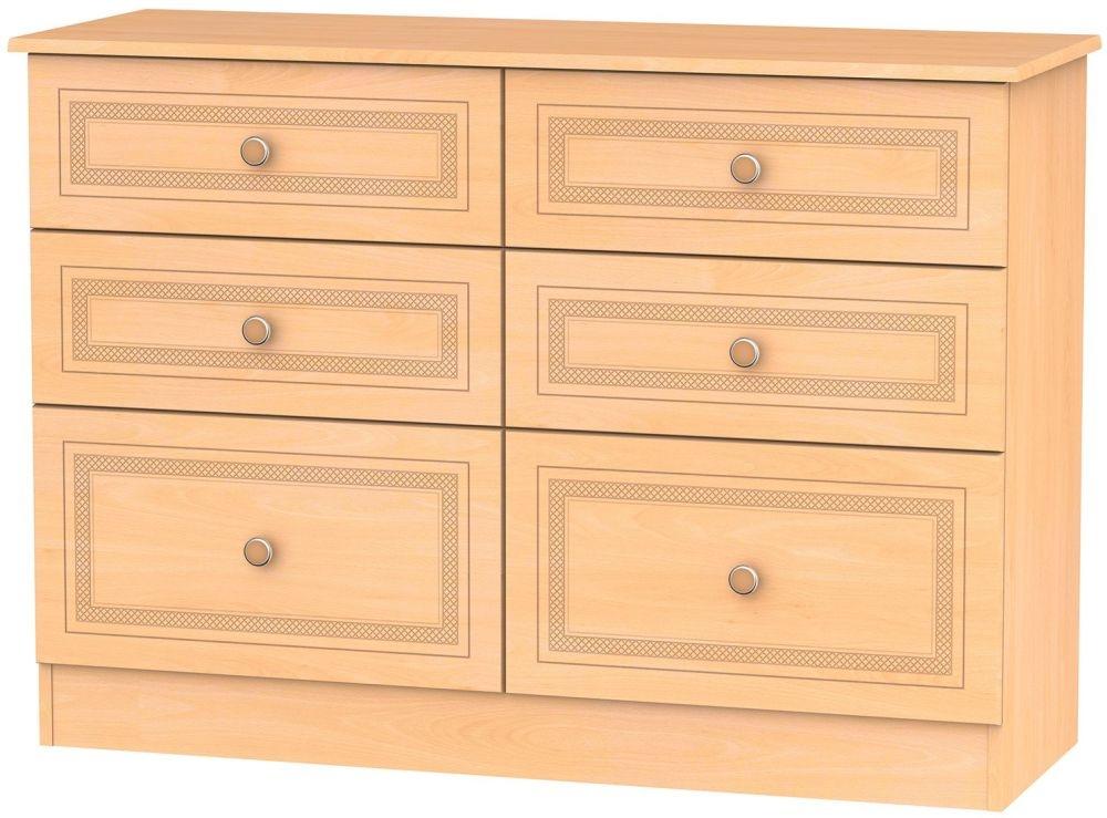 Corrib Beech Chest of Drawer - 6 Drawer Midi