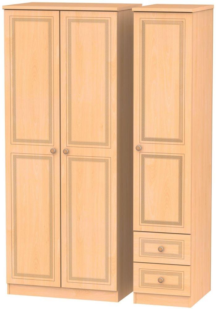 Corrib Beech Triple Wardrobe - Plain with 2 Drawer