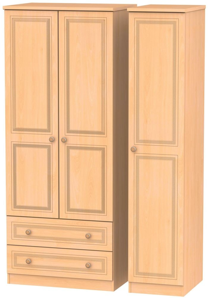 Corrib Beech Triple Wardrobe with 2 Drawer