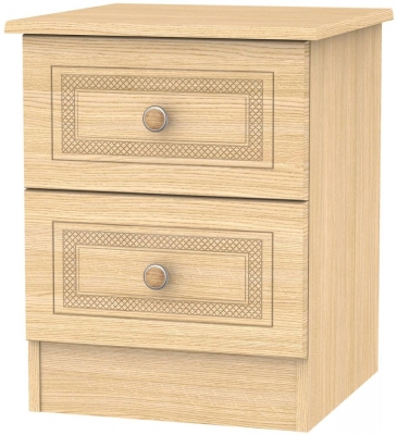 Corrib Light Oak Bedside Cabinet - 2 Drawer Locker