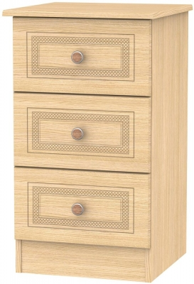 Corrib Light Oak Bedside Cabinet - 3 Drawer Locker