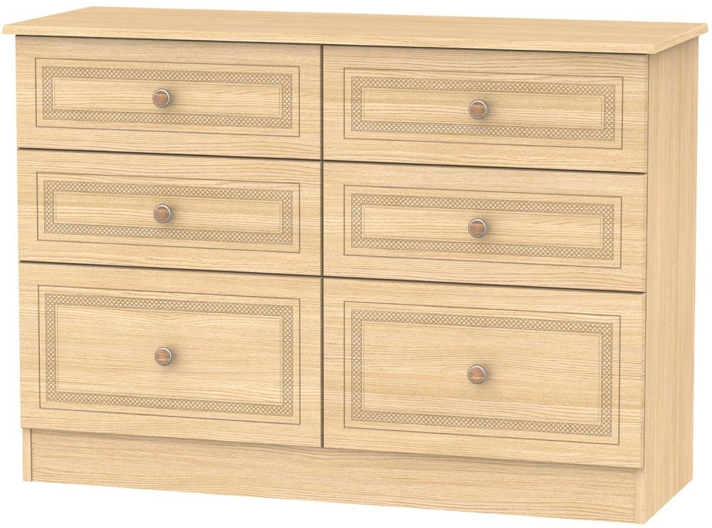Corrib Light Oak Chest of Drawer - 6 Drawer Midi